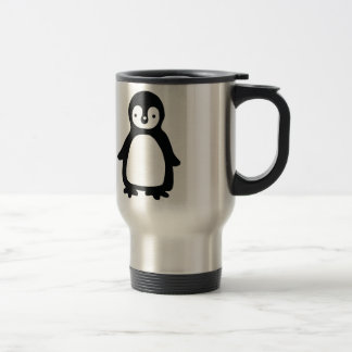 Caneca Térmica Pinguin preto e branco simples