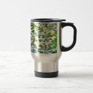 Caneca Térmica Pop art abstrato da folha no verde branco e no pó