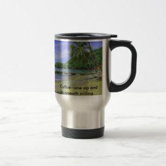 Caneca Térmica Praia de Tobago, café--um sorvo e seu sa liso…