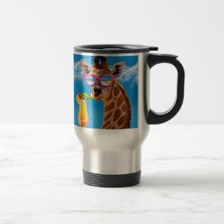 Caneca Térmica Praia do girafa - girafa engraçado
