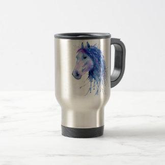 Caneca Térmica Retrato abstrato do cavalo da aguarela