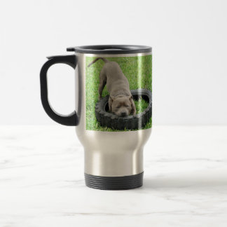Caneca Térmica Tempo azul do jogo de Staffordshire bull terrier,