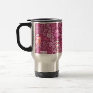Caneca Térmica Teste padrão cor-de-rosa de paisley da coruja
