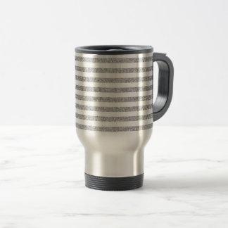 Caneca Térmica Teste padrão elegante da listra do brilho da prata