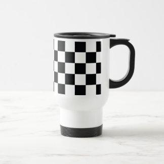 Caneca Térmica Teste padrão mínimo branco preto Checkered da