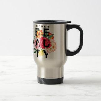 Caneca Térmica Tipografia floral colorida beleza escondida