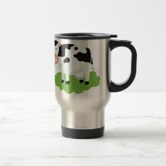 Caneca Térmica vaca de ordenha no jardim