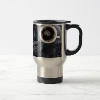 Caneca Térmica Vista superior de uma chávena de café branca e de