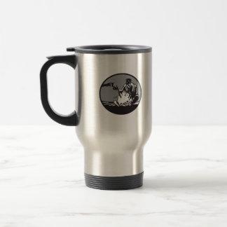 Caneca Térmica Woodcut do círculo da chávena de café da fogueira