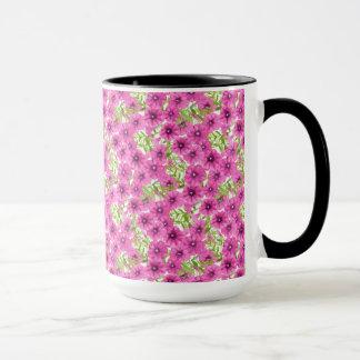 Caneca Teste padrão de flor cor-de-rosa do petúnia da