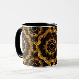 Caneca Teste padrão de flor floral da modificação do ouro