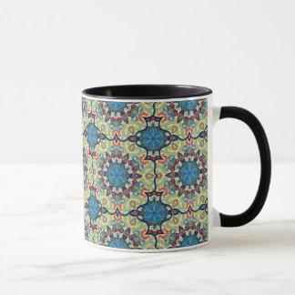 Caneca Teste padrão floral étnico abstrato colorido de da