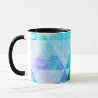 Caneca Teste padrão geométrico da aguarela azul