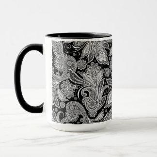 Caneca Teste padrão ornamentado preto & branco de Paisley