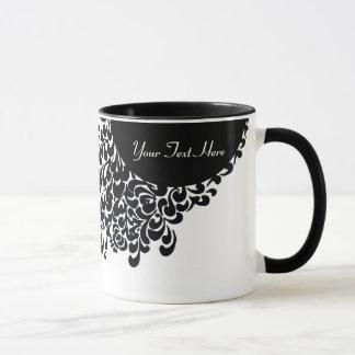 Caneca Teste padrão ornamentado preto e branco elegante