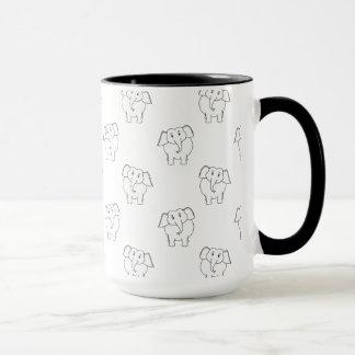 Caneca Teste padrão preto e branco do elefante