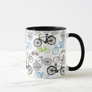 Caneca Teste padrão retro da bicicleta da bicicleta