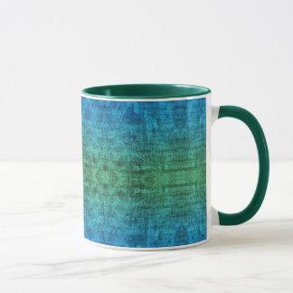 Caneca Teste padrão verde e azul da textura do inclinação
