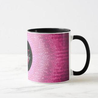 Caneca Textura abstrata do rosa do vitrage do círculo