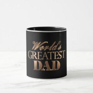 Caneca Tipografia preta elegante do ouro do grande pai do