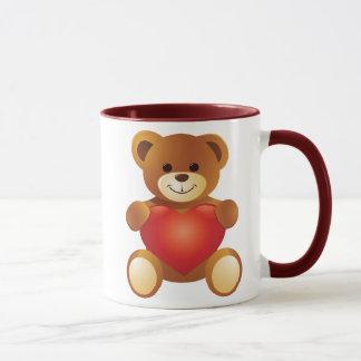 Caneca Urso bonito bonito que guardara um coração do amor