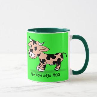 Caneca Vaca modelada dos desenhos animados no verde com