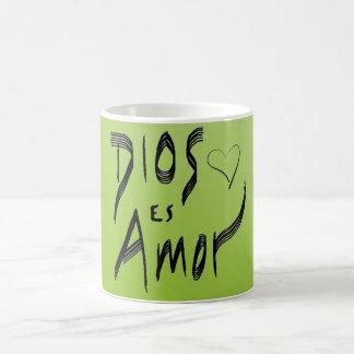 Caneca verde do espanhol de Dios Es Amor