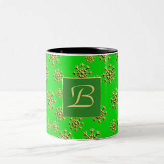Caneca verde monogramed customizável do Natal