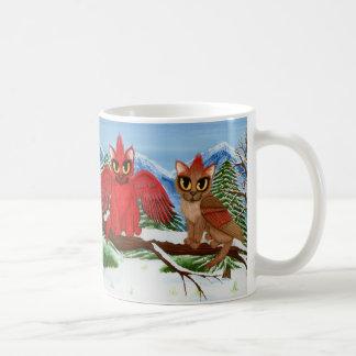 Caneca vermelha da arte do gato da neve dos