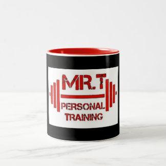Caneca vermelha do logotipo do treinamento pessoal