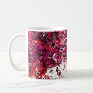Caneca vermelha floral do desenhista do redemoinho
