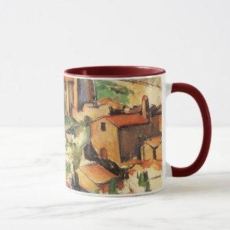 Caneca Vila de Gardanne por Paul Cezanne, arte do vintage