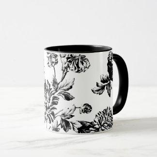 Caneca Vintage branco preto Toile floral botânico