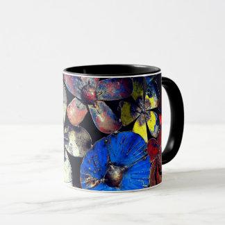 Caneca Vintage rústico flor colorida