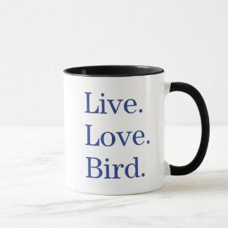Caneca Vivo. Amor. Pássaro