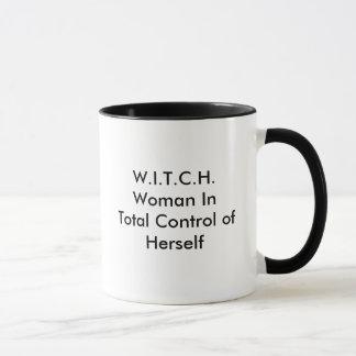 Caneca W.I.T.C.H.Woman no controle total dsi mesma