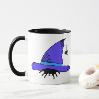 Caneca Web spider roxos do Dia das Bruxas do chapéu da