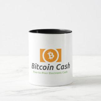 Canecas de café do dinheiro de Bitcoin e canecas