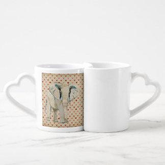 Canecas do coração dos elefantes brancos canecas lovers