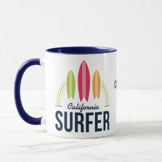 Canecas feitas sob encomenda do surfista do nome &