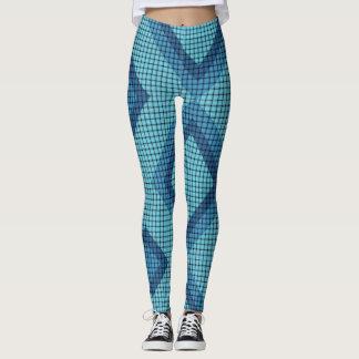 Caneleiras azuis do teste padrão do Weave e do Legging