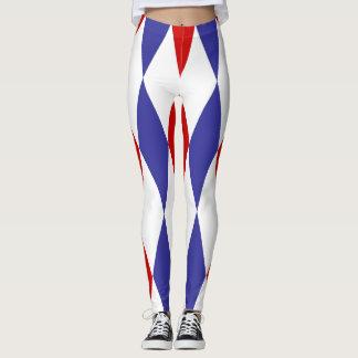 Caneleiras azuis e vermelhas do design dos legging