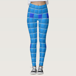 Caneleiras - azulejos do azul do mosaico leggings