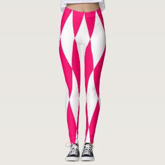 Caneleiras cor-de-rosa e brancas dos diamantes legging