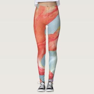 Caneleiras das senhoras alaranjadas/teste padrão legging