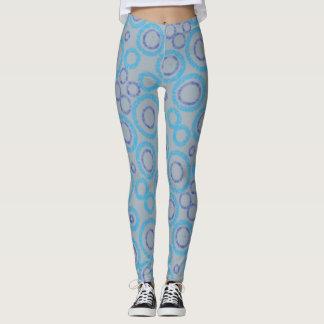 Caneleiras de prata e azuis leggings