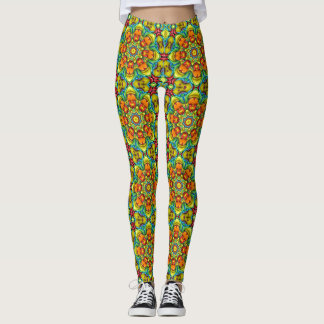 Caneleiras do caleidoscópio do vintage do Sunburst Legging
