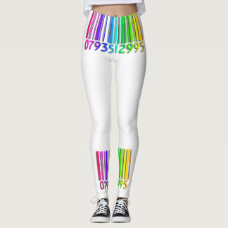 Caneleiras do código de barras do arco-íris leggings