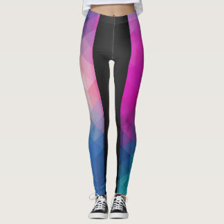 caneleiras do design geométrico do Dois-tom Legging