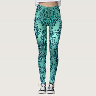 Caneleiras do impressão do damasco do verde azul legging